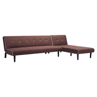 Greco Sleeper Sectional - Mocha with Blue Trim