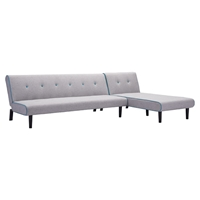 Greco Sleeper Sectional - Gray with Aqua Trim