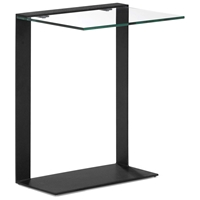 Zeon C Side Table - Tempered Glass, Black