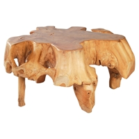 Broll Coffee Table - Natural and Antique Gold