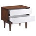 LA Nightstand - Walnut and White - ZM-800334