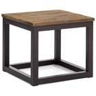 Civic Center Square Side Table - Antique Metal, Planked Wood Top