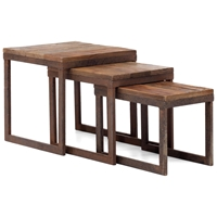 Civic Center Nesting Tables - Antique Metal, Planked Wood Top