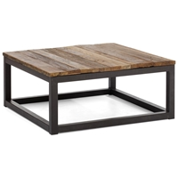 Civic Center Square Coffee Table - Antique Metal, Planked Wood