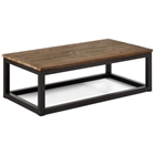 Civic Center Long Coffee Table - Antique Metal, Planked Wood Top