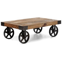 Barbary Coast Coffee Table - Antique Metal Wheels, Wood Top