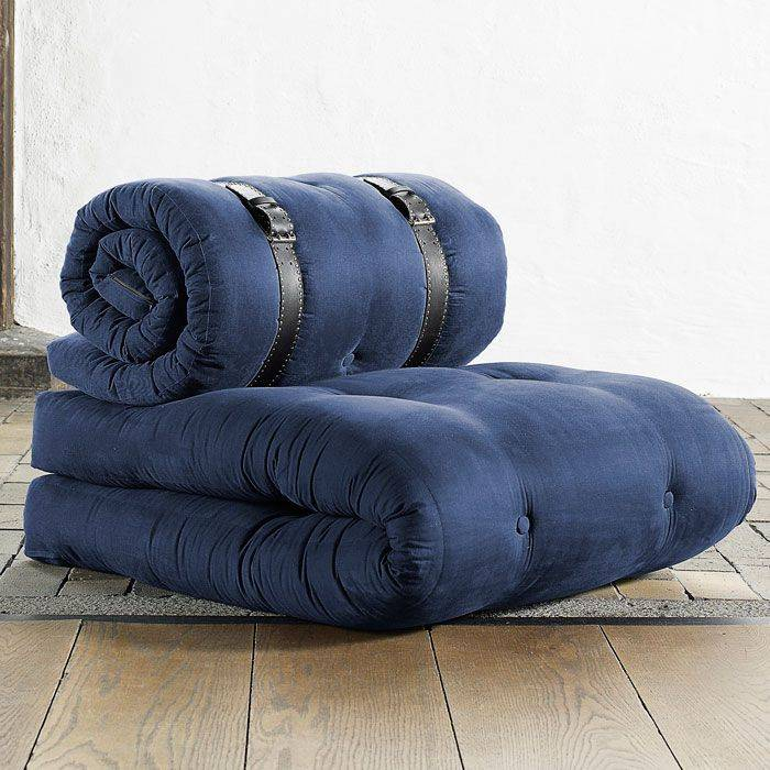 Buckle Up Sleeper Chair in Solid Navy Blue