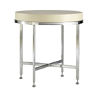 Galleria Round End Table - Stainless Steel Base, White on Ash Top