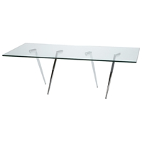 Sonya Contemporary Cocktail Table - Chrome Legs, Glass Top