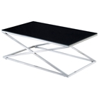 Excel Stainless Steel Cocktail Table - X Base, Black Glass Top