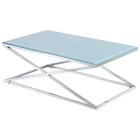 Excel Stainless Steel Cocktail Table - X Base, Clear Glass Top