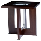 Bridget End Table - Espresso on Birch, Glass Insert, Square Top