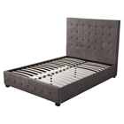 Alma Upholstered Bed - Charcoal, Tufted, Platform