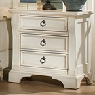 Heirloom 3 Drawer Nightstand - Antique White, Pewter Rings