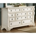 Heirloom Triple Dresser - Antique White, 10 Drawers, Pewter Rings - AW-2910-210