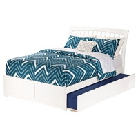 Orleans Full Wood Bed - Flat Panel Foot Board, Urban Trundle Bed