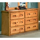 6-Drawer Dresser - Recessed Handles, Cinnamon Finish