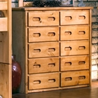 10-Drawer Tall Dresser - Recessed Handles, Cinnamon Finish
