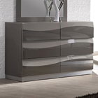 Delhi Contemporary Dresser - Glossy Gray, 6 Drawers