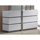 Manila 6 Drawer Dresser - Glossy White, Gray Accents