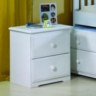 Isobel Wooden Nightstand - 2 Drawers, White Finish