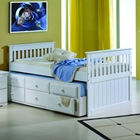 Gershwin Twin Cottage Trundle Bed - Round Knobs, White
