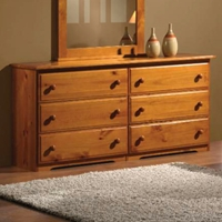 Isaac Wooden Dresser - 6 Drawers, Honey Finish