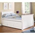 Hattie Full Size Sleigh Bed - Trundle, Drawers, White Finish