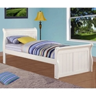 Faustine Twin Sleigh Bed - Bead Board Panels, White Finish