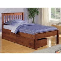 Embry Mission Style Bed - Slatted Headboard, Light Espresso