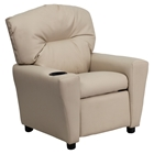 Upholstered Kids Recliner Chair - Cup Holder, Beige