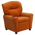 Microfiber Kids Recliner Chair - Cup Holder, Orange