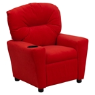 Microfiber Kids Recliner Chair - Cup Holder, Red