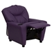 Upholstered Kids Recliner Chair - Cup Holder, Purple - FLSH-BT-7950-KID-PUR-GG
