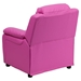 Deluxe Padded Upholstered Kids Recliner - Storage Arms, Hot Pink - FLSH-BT-7985-KID-HOT-PINK-GG