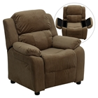 Deluxe Padded Upholstered Kids Recliner - Storage Arms, Brown, Microfiber