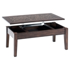Baroque Cocktail Table - Mosaic Tile Inlay, Lift Top, Brown