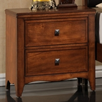 Auckland 2-Drawer Nightstand - Hardwood, Antique Oak Finish