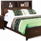 Edison King Storage Bed - Bookcase Headboard, Java Oak