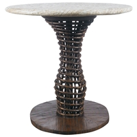 "24"" Round Side Table - Mosaic Top, Rattan Weave, Cast Stone"