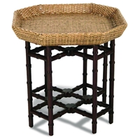 Urban Octagonal End Table - Rattan Weave