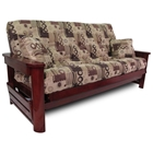 Newport Wood Futon Frame Set w/ Designer Cover & FREE Pillows