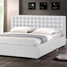 Madison King Platform Bed - Square Tufts, Metal Legs, White