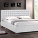 Madison Queen Platform Bed - Square Tufts, Metal Legs, White - WI-BBT6183-WHITE-BED