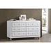 Luminescence Faux Leather Dresser - 6 Drawers, White - WI-BBT2030-DRESSER-WHITE