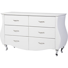 Enzo Faux Leather Dresser - 6 Drawers, White