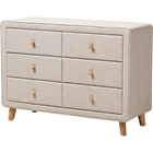 Jonesy Upholstered 6 Drawers Dresser - Beige