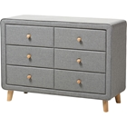 Jonesy Upholstered 6 Drawers Dresser - Gray