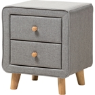 Jonesy Upholstered 2 Drawers Nightstand - Gray