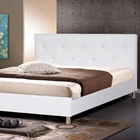 Barbara King Platform Bed - Crystal Tufts, Metal Legs, White